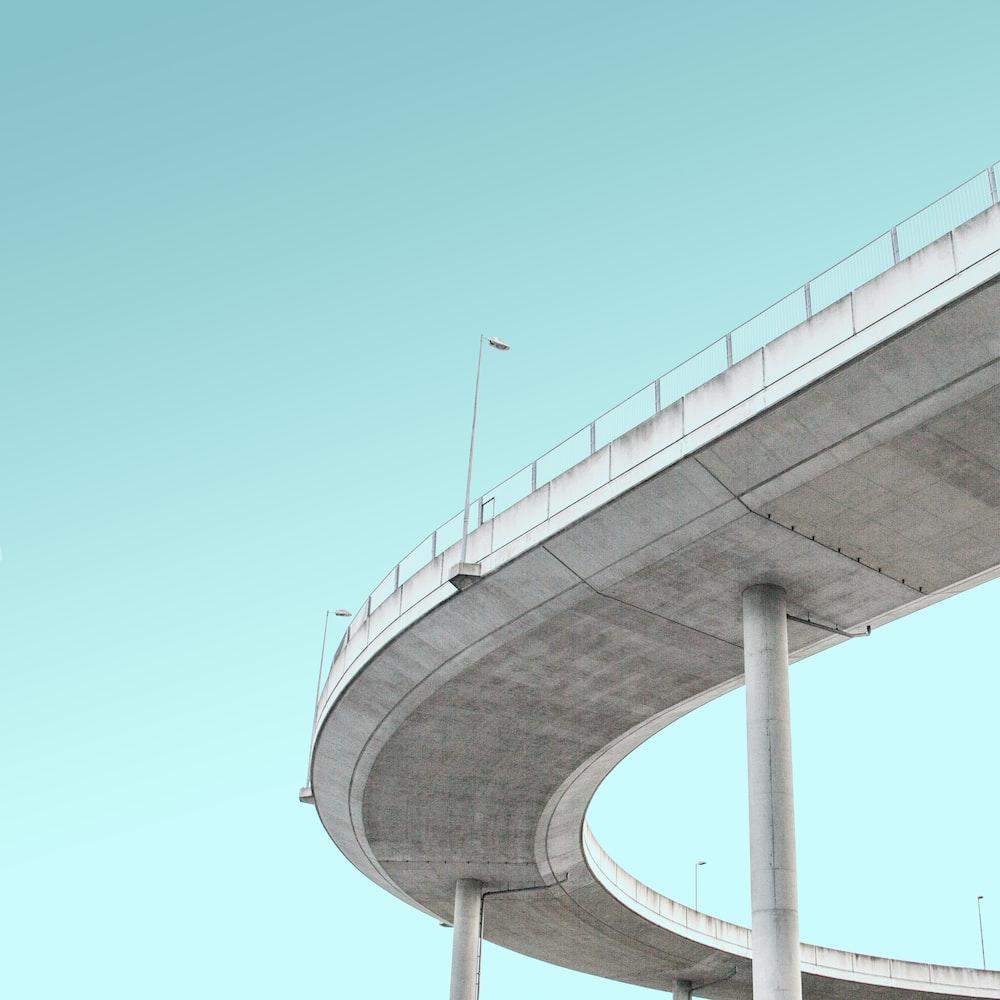 worm's-eye view photography of bridge