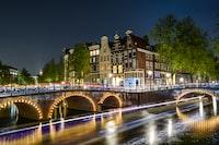 lighted city near on bridge