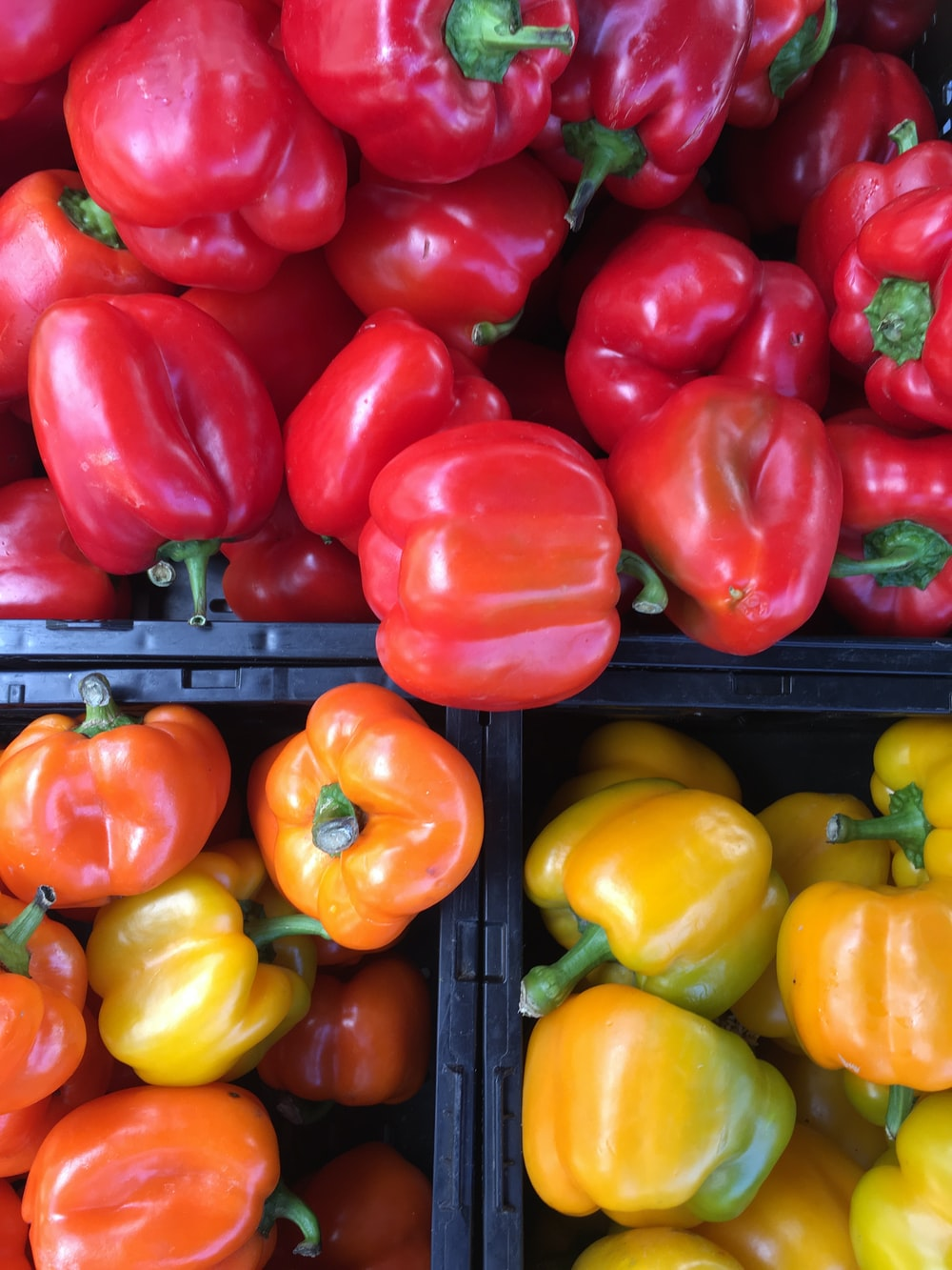 red and yellow bell peppers lot
