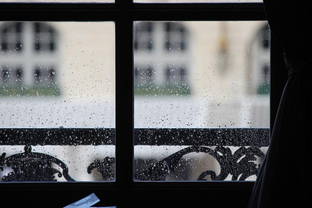 closeup photo of windowpane