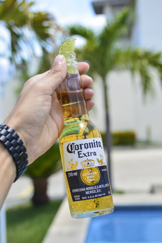 person holding Coronita Extra bottle