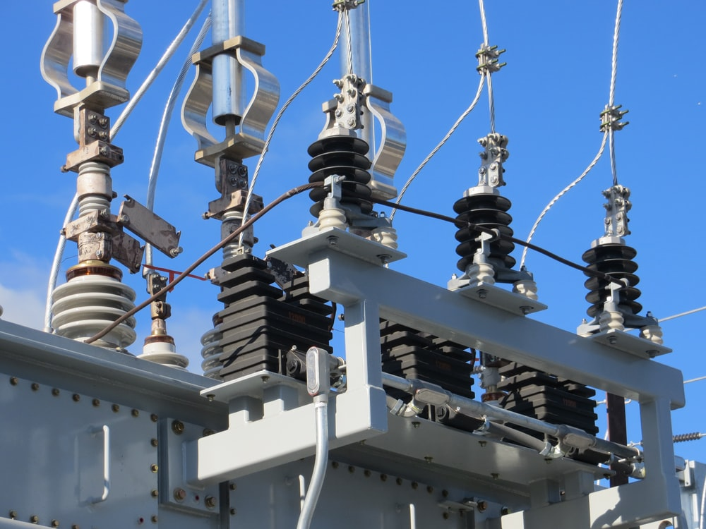 gray transmission tower