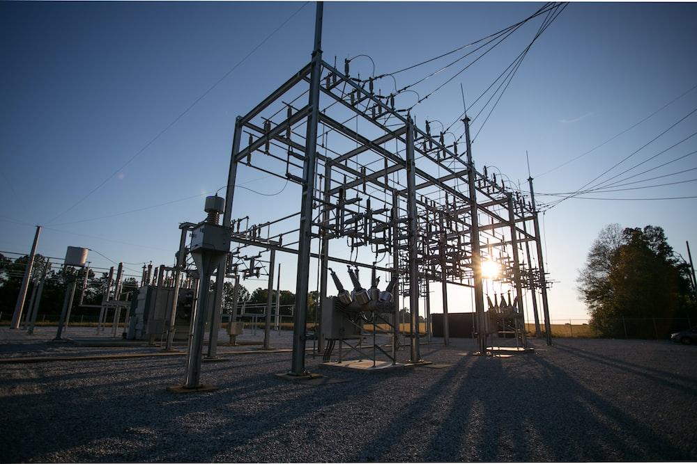 gray metal power station