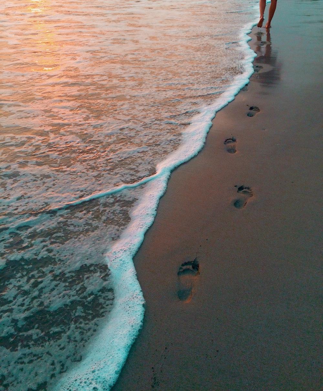 footprints on seashore