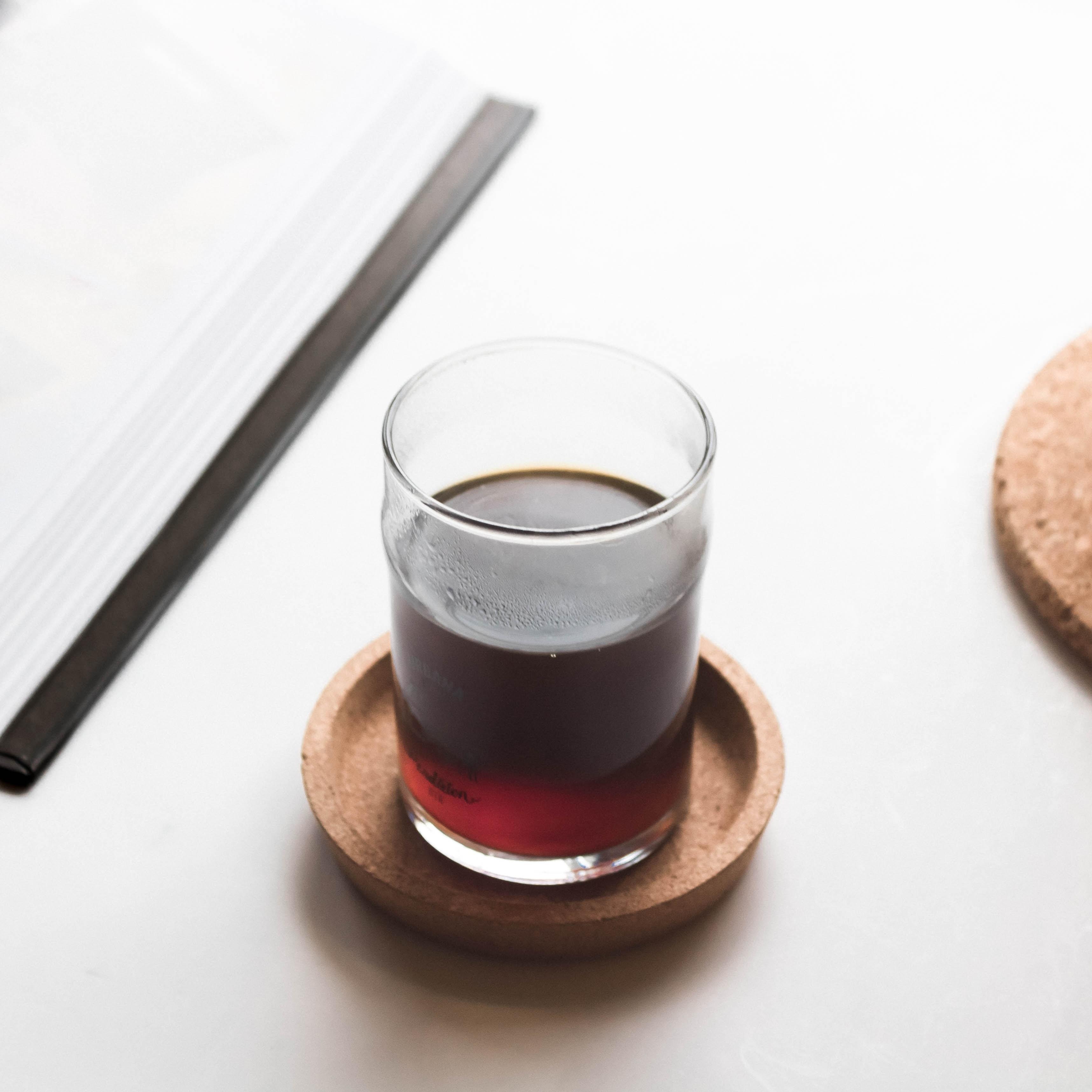 liquid in pint glass