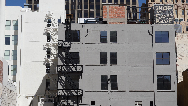 gray painted concrete building