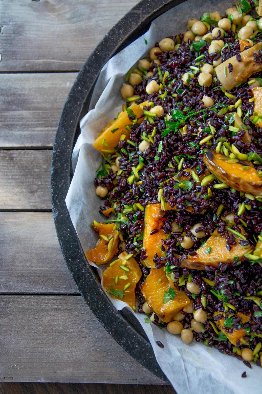 vegetable dish on black plate