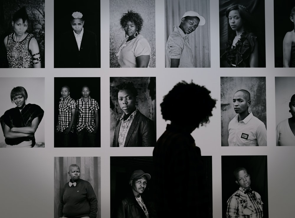 grayscale photography of people
