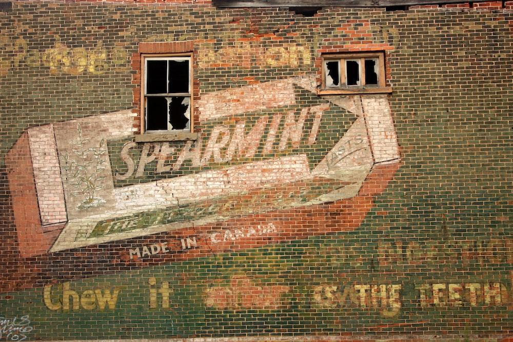 Spearmint graffiti on wall