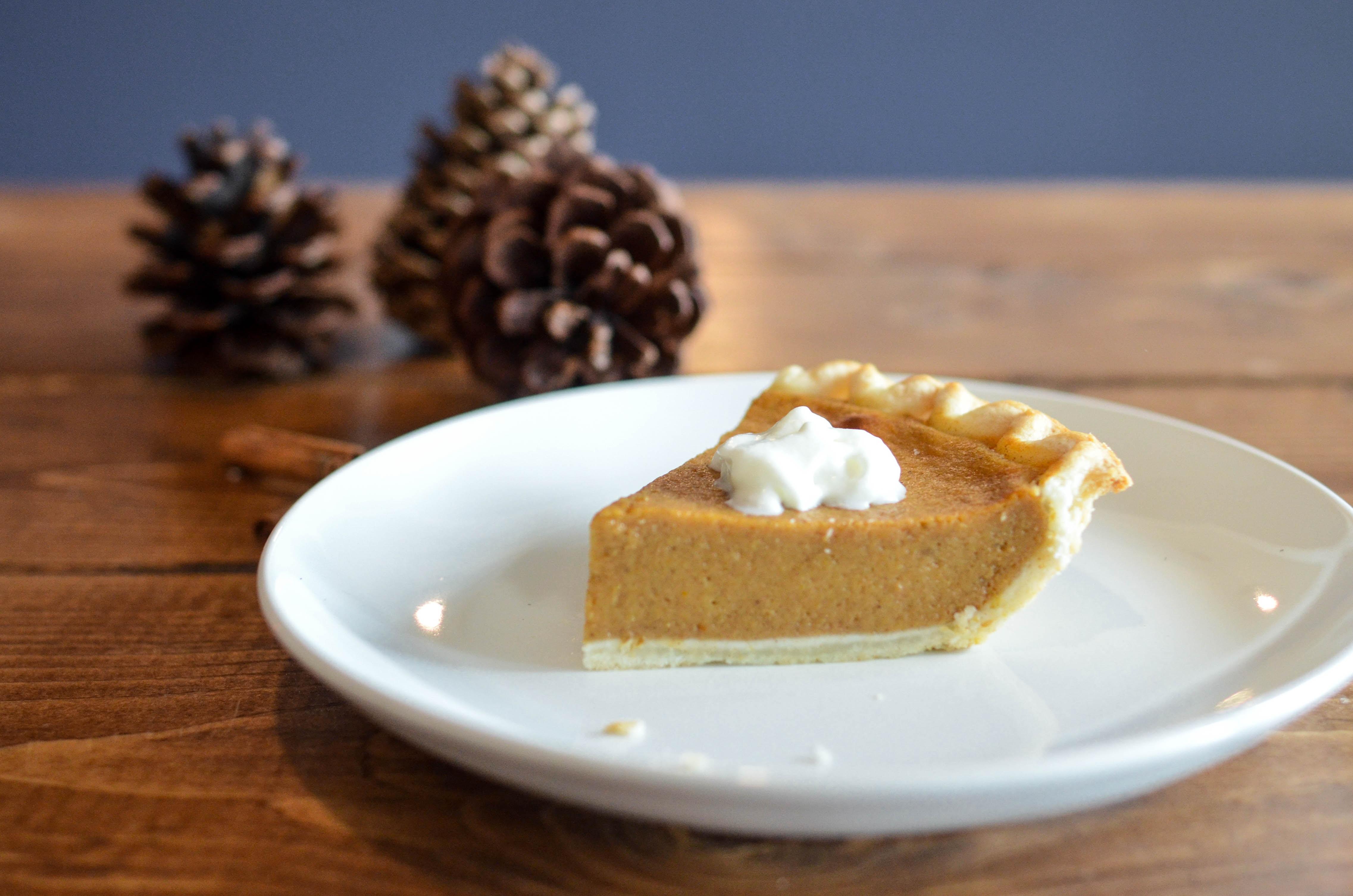 closeup photo of sliced pie on white ceramic saucer