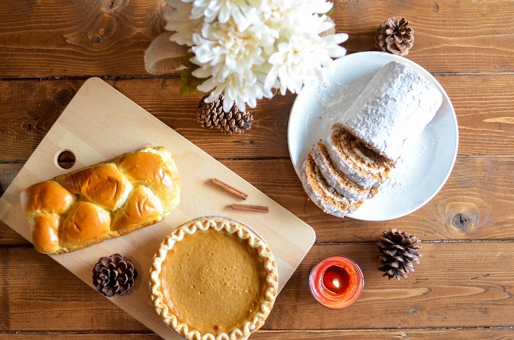 cake pie beside pine cones