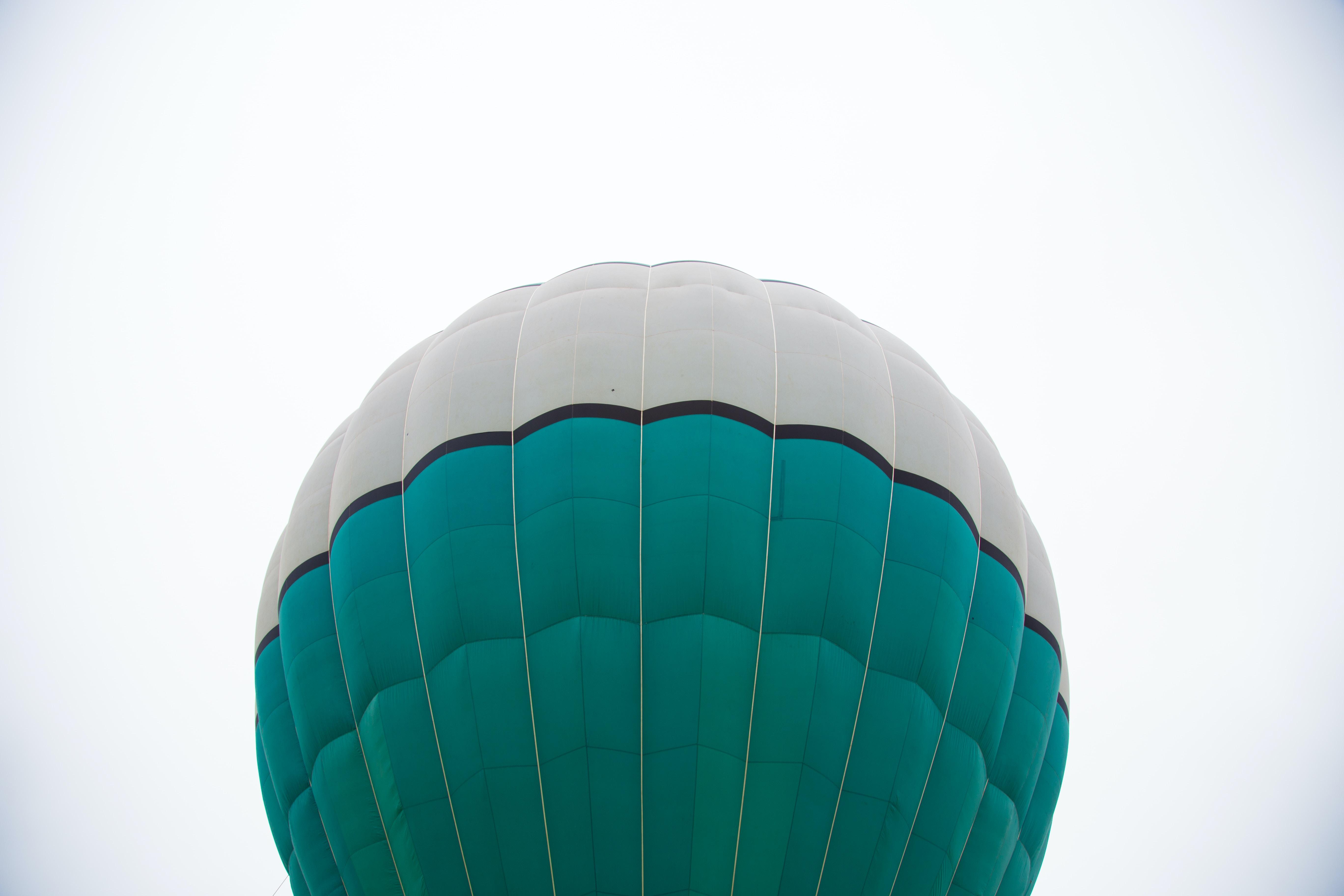 green and white hot air balloon