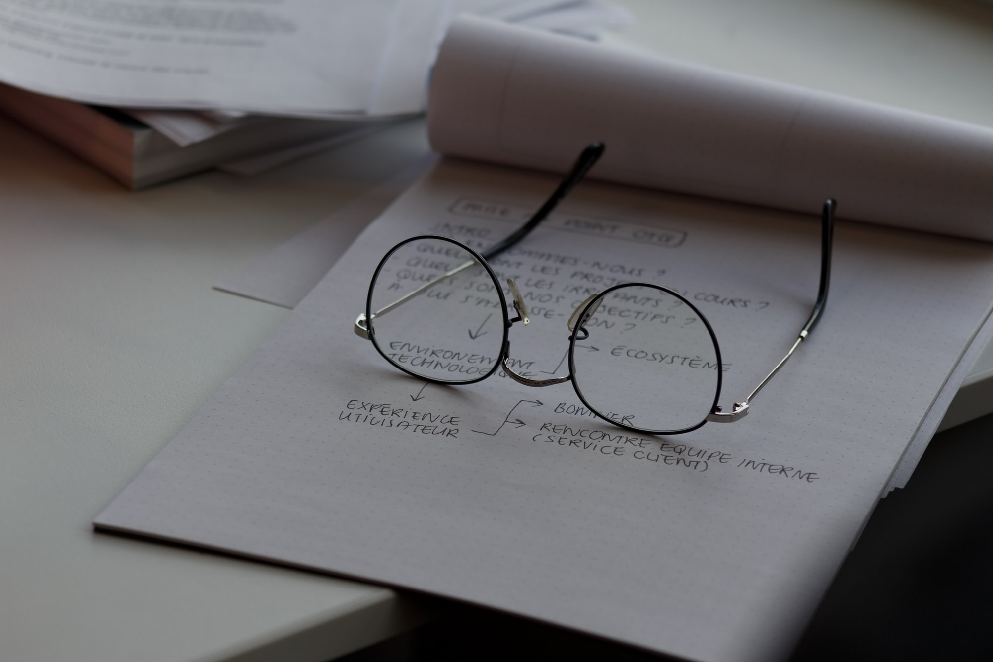 Image of a notepad with some text written on it. An open pair of round glasses and a black metal frame are placed..