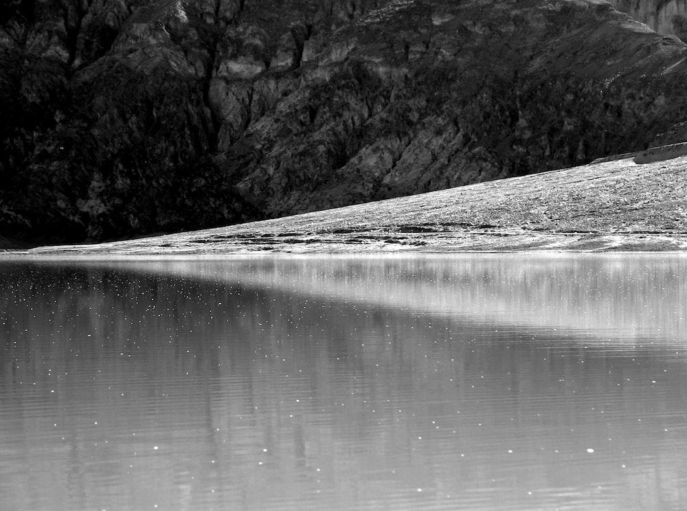 grayscale photo of lake