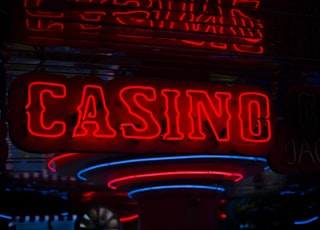 red Casino neon sign turned on