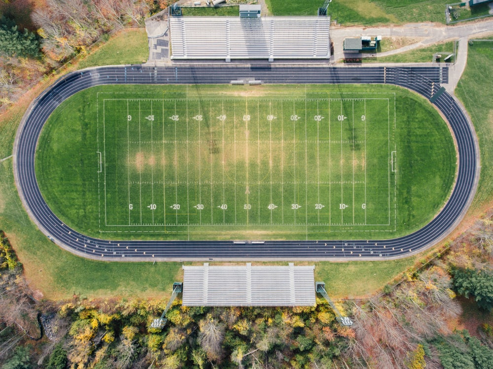 aerial photography of track field
