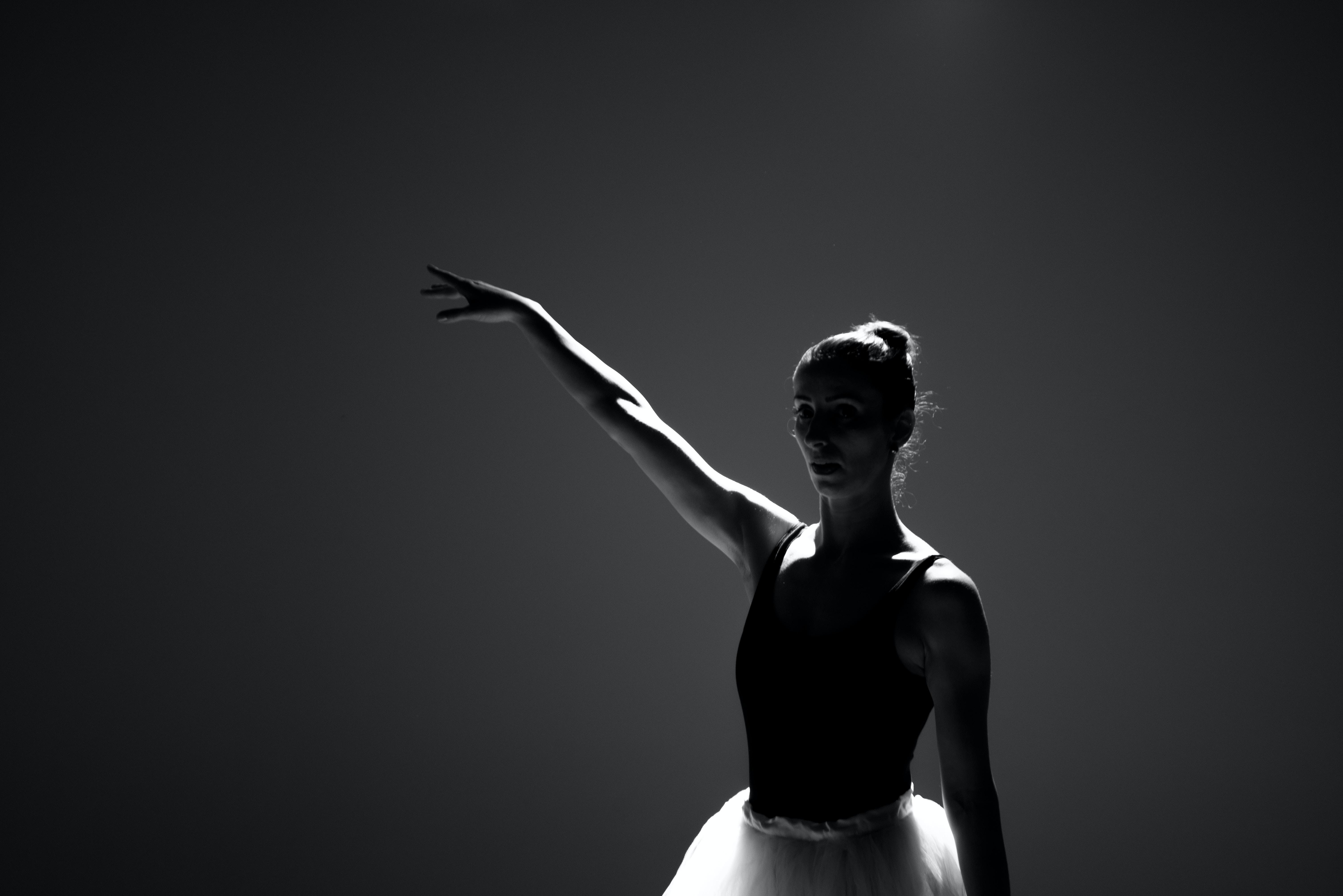 grayscale photography of balerina