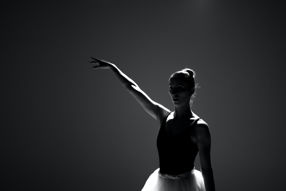 grayscale photography of balerina