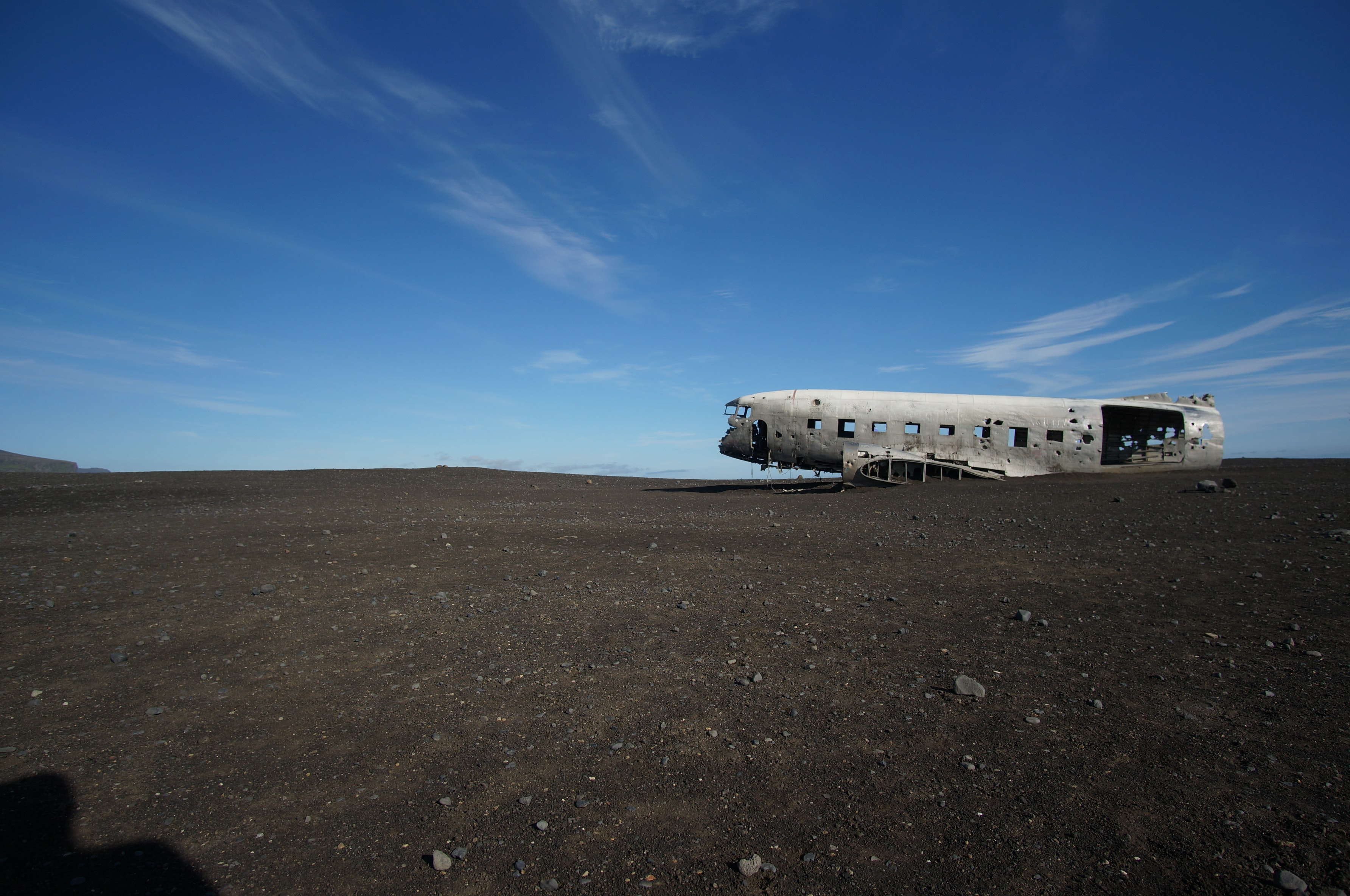 wrecked airplane in deserted location