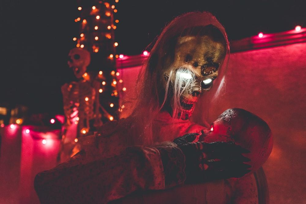 brown skull Halloween decor