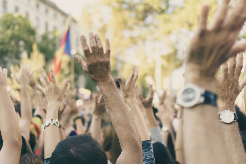 group of people raising their hands