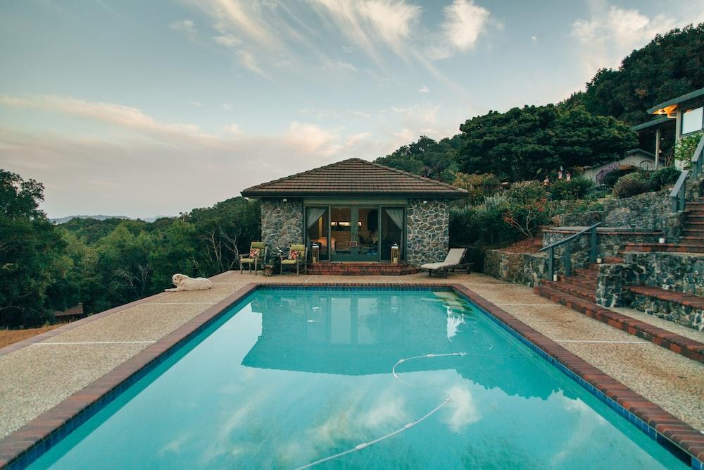 swimming pool on mountain
