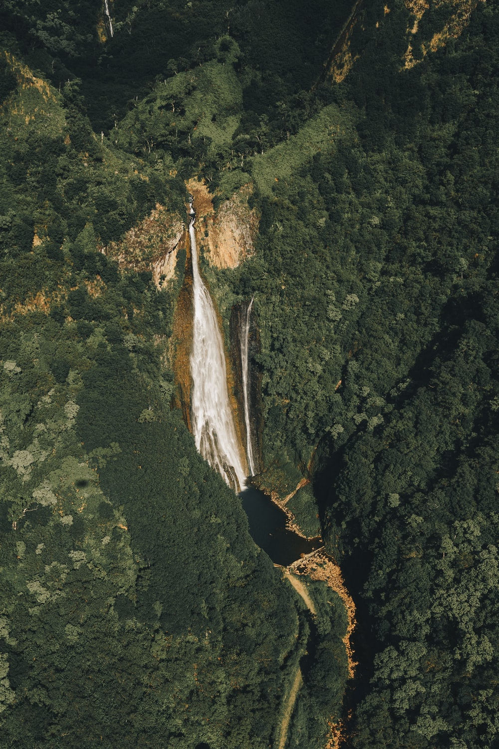 aerial view photography of mountain falls
