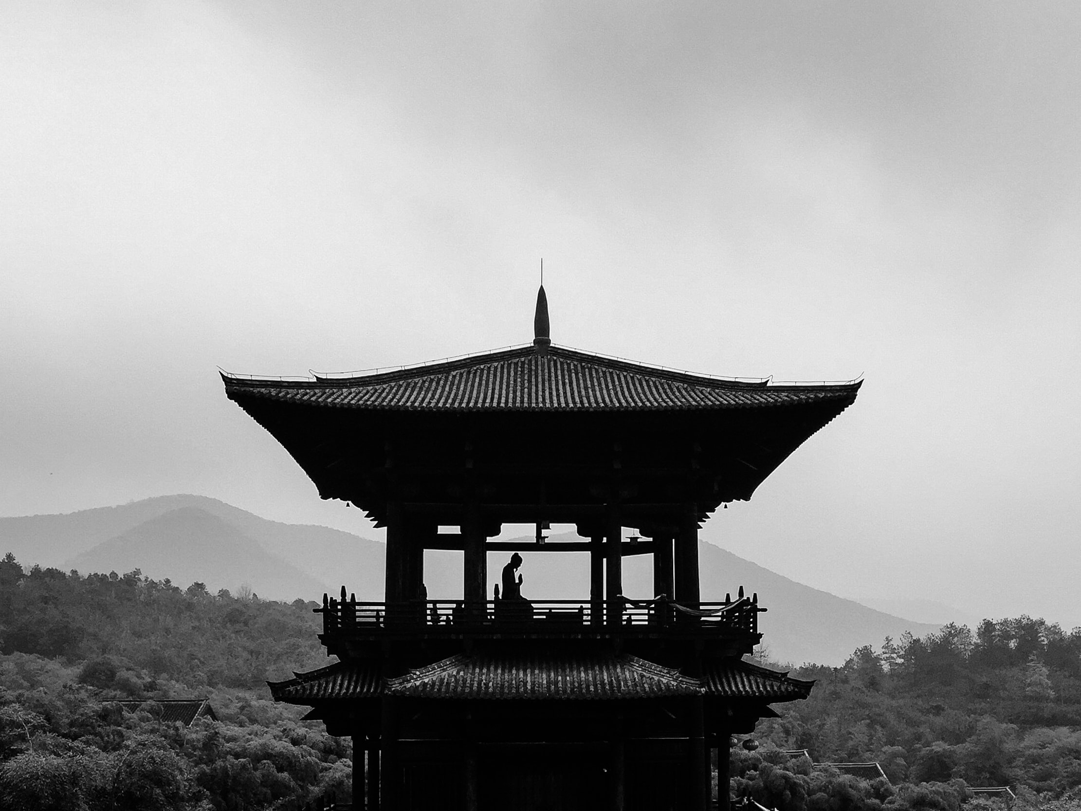 grayscale photography of person on pagoda