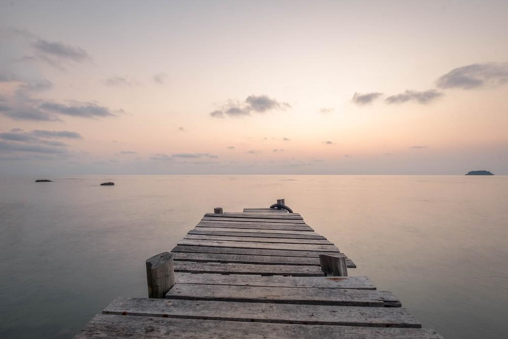 photo of brown wooden boardwalk