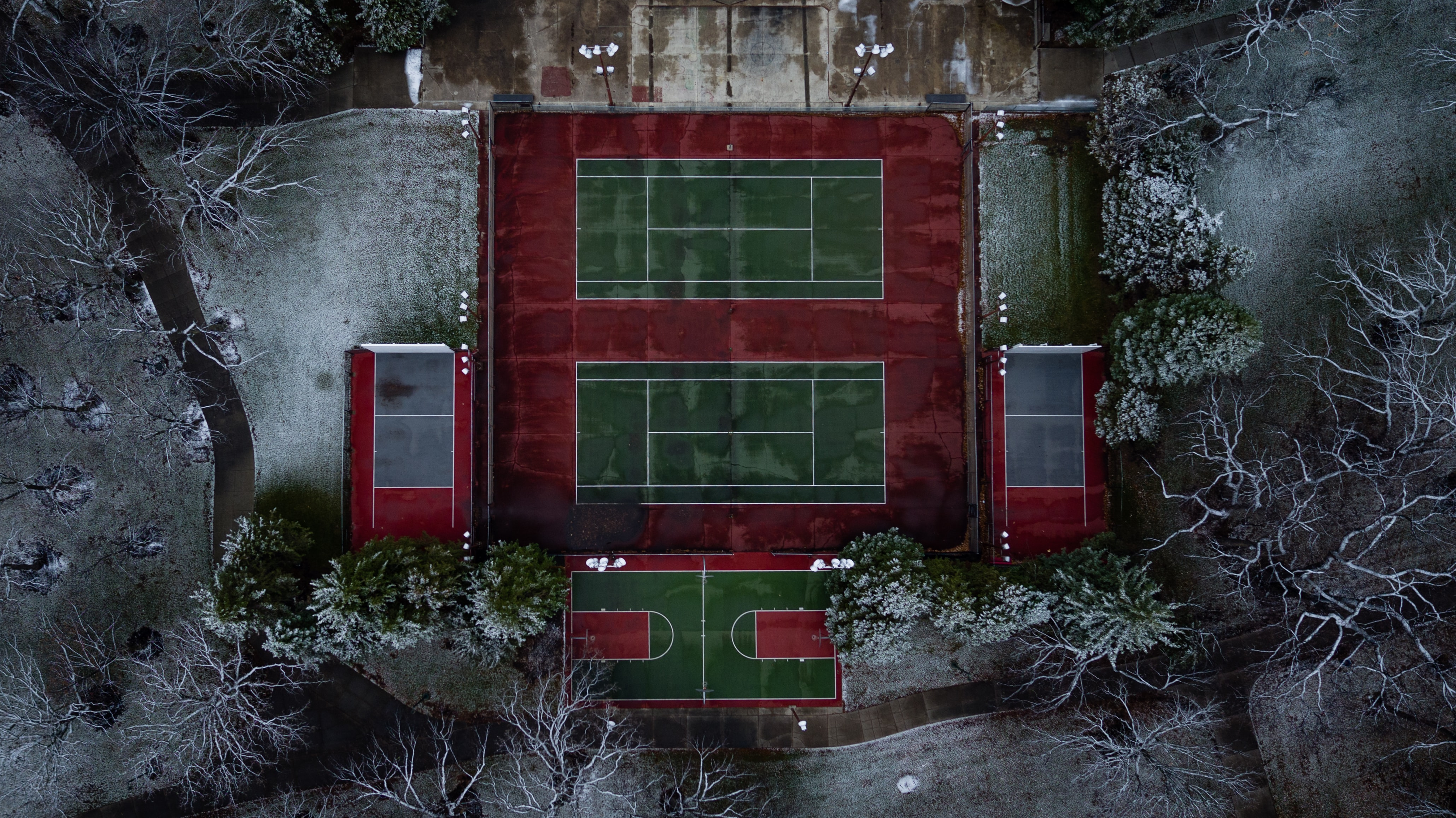 aerial photo of sports field