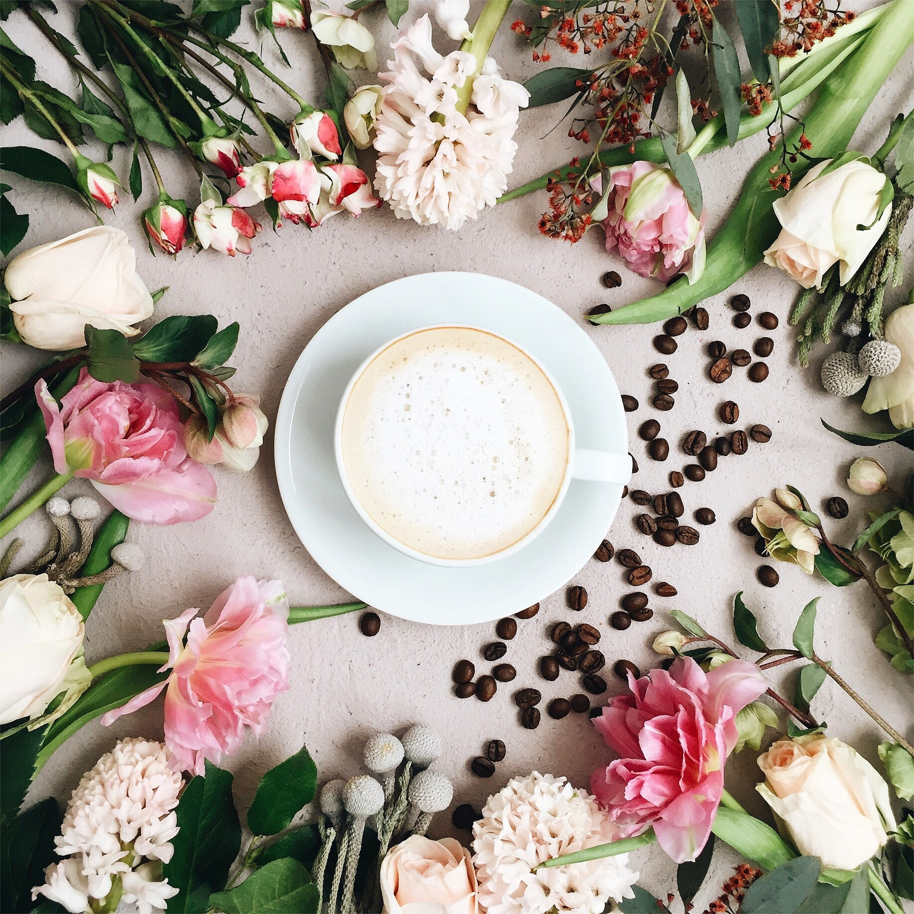 cappuccino filled white ceramic coffee cup on white ceramic saucer surrounded by assorted-type of flowers and coffee beans