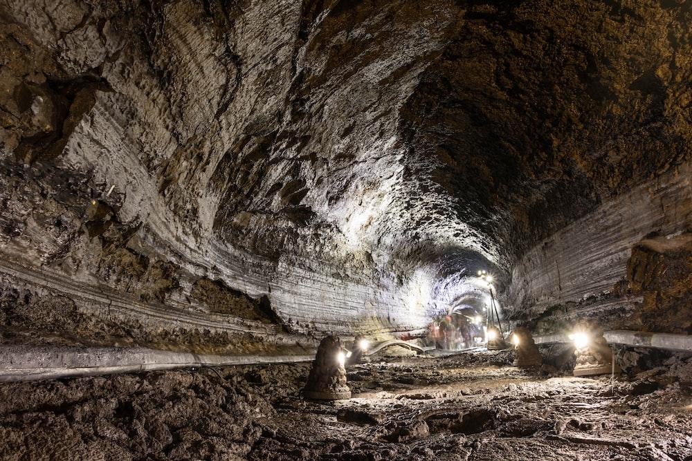 white lights inside tunnel