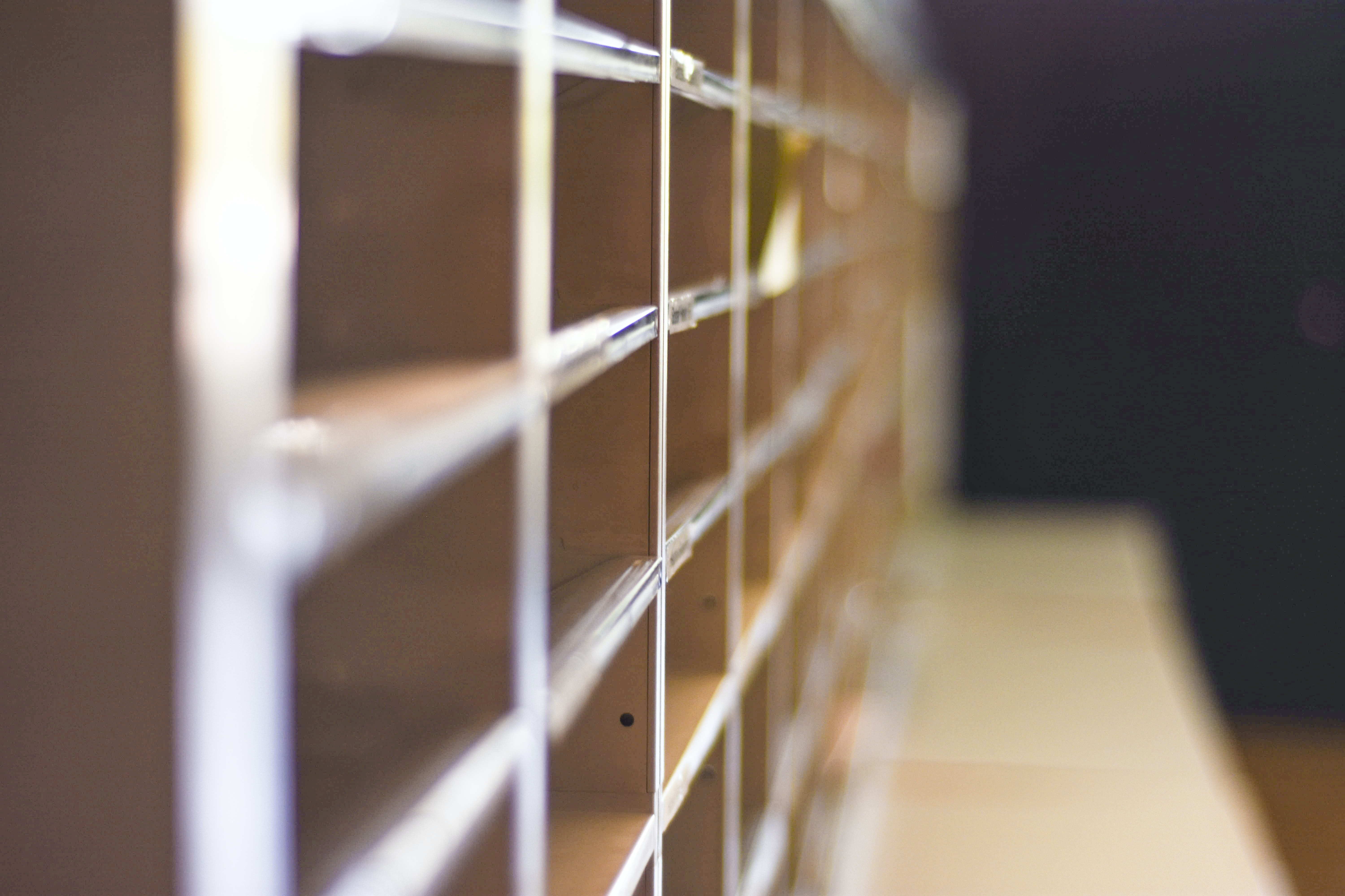 selective-focus photography of beige shelf