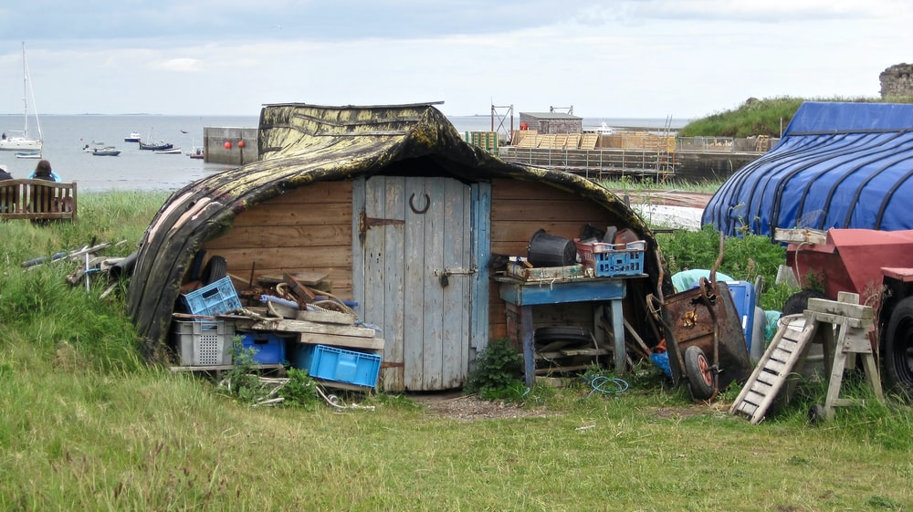 gray and brown wooden shed