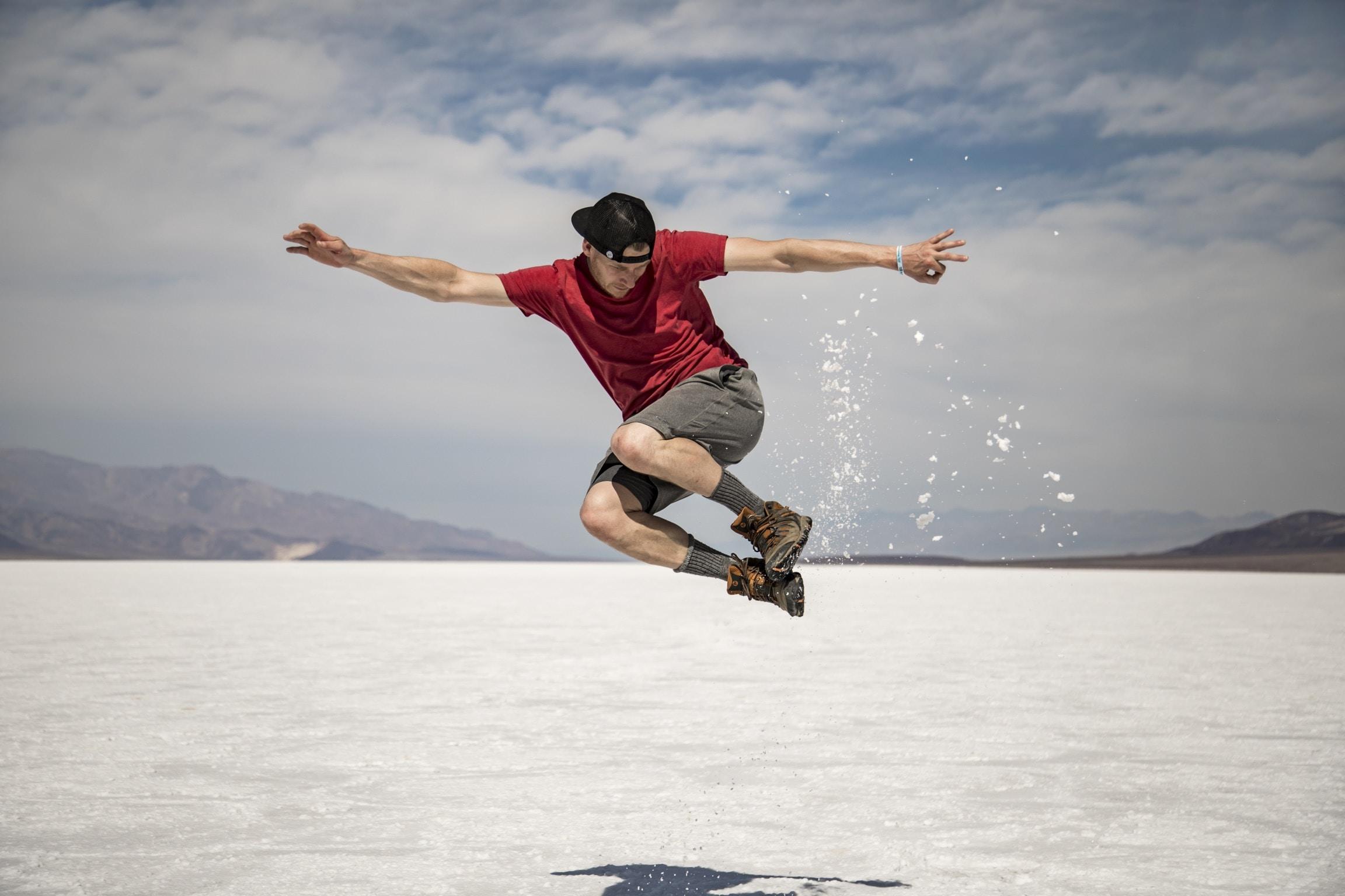 man doing high jump