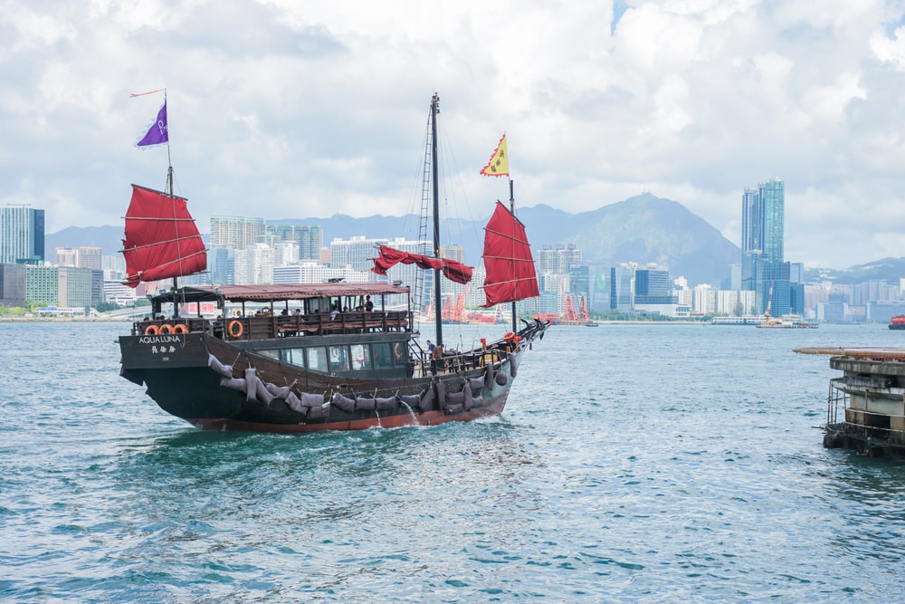 gray and brown Chinese merchant ship