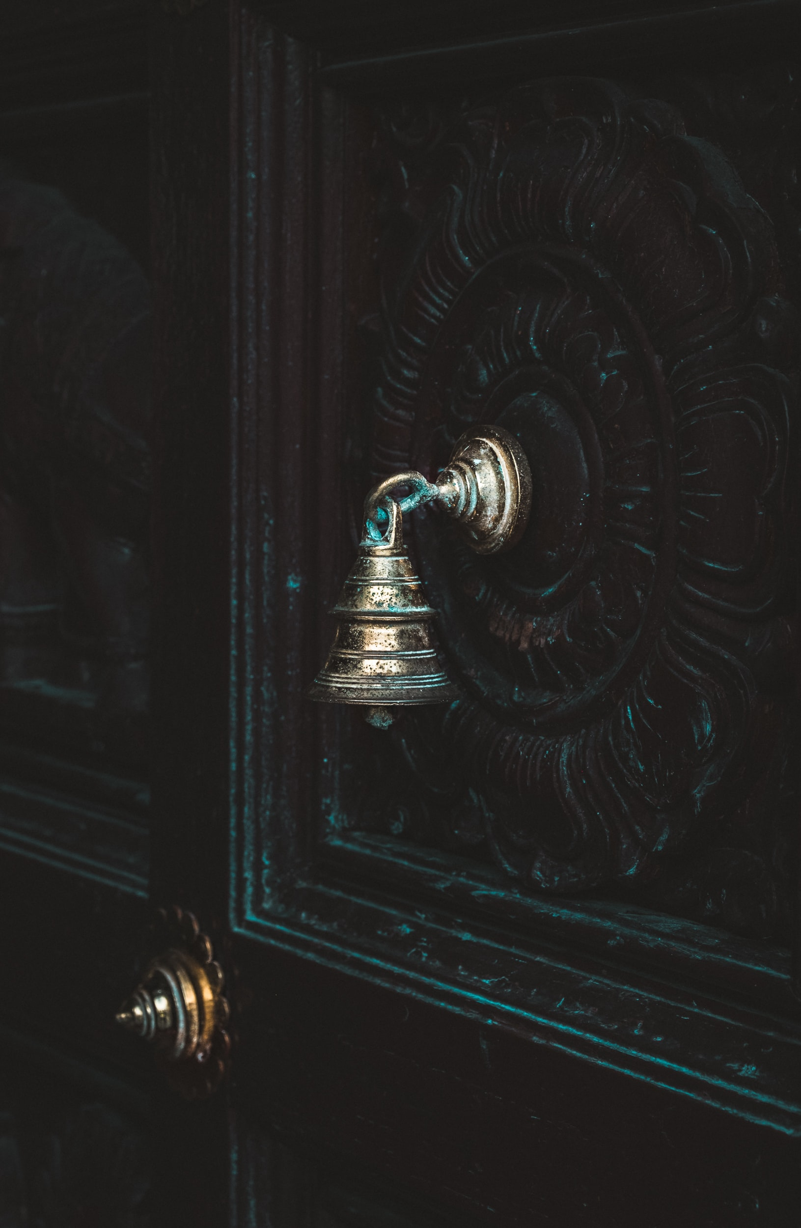 silver-colored door bell on black door