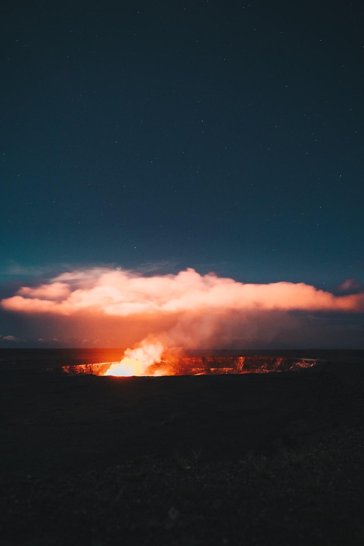 bonfire against white clouds