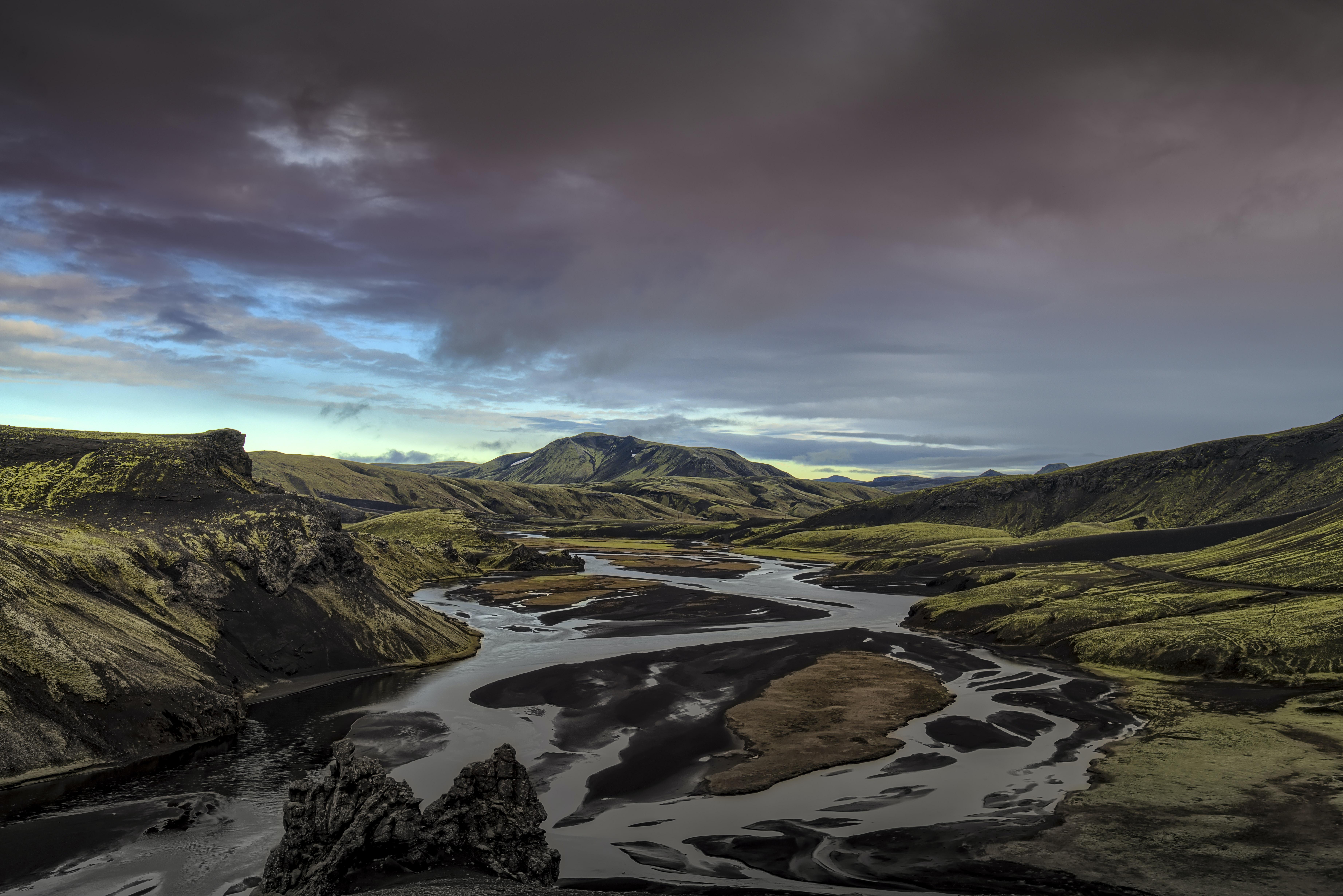 river near mountain landscape photography