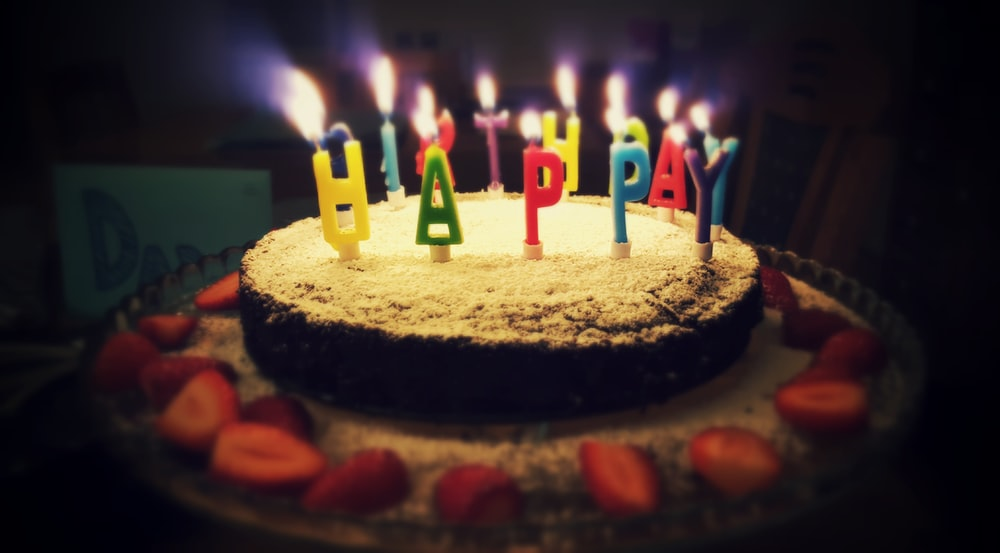 Round Happy Birthday Cake With Lighted Candles