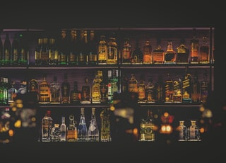 HDR photo of wine bottles in shelf