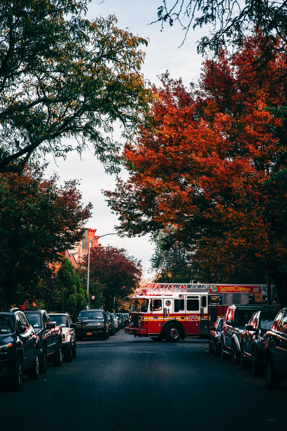 landscape photography of fire engine crossing street