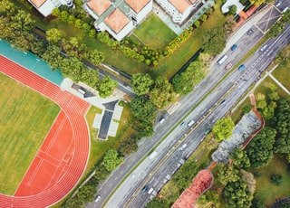 aerial view of track field near road