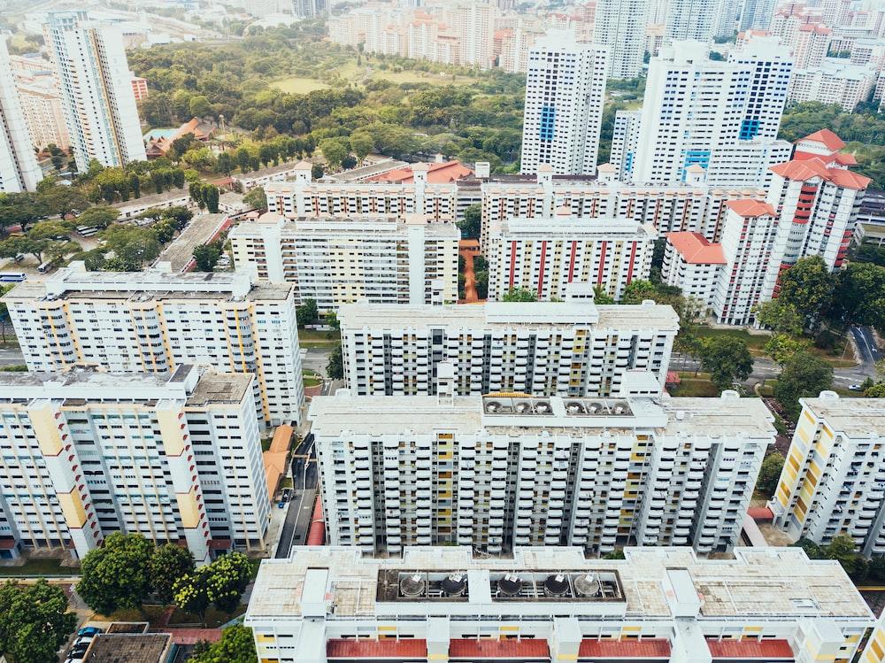 bird's eye view of white residential buildings