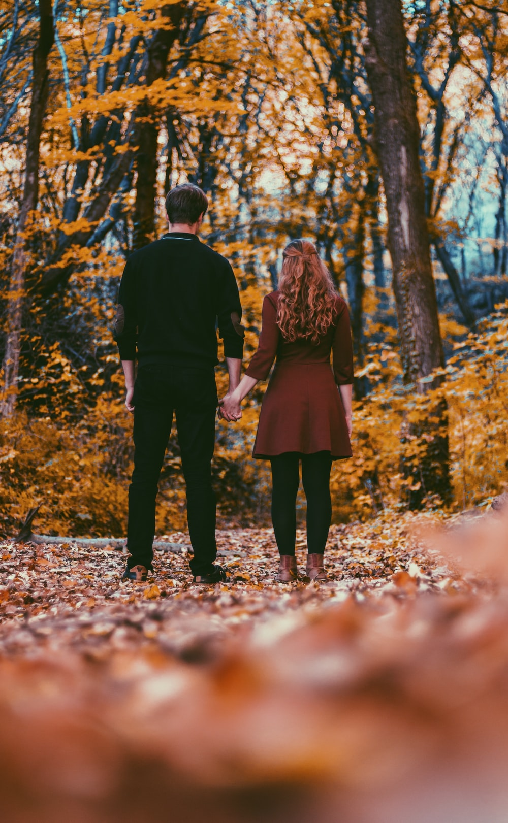 man in black long-sleeved shirt holding woman hand near trees during daytime