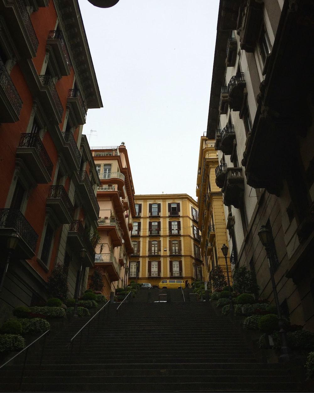 stairway between buildings at daytime