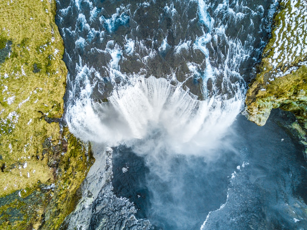 aerial view of waterfalls during daytime