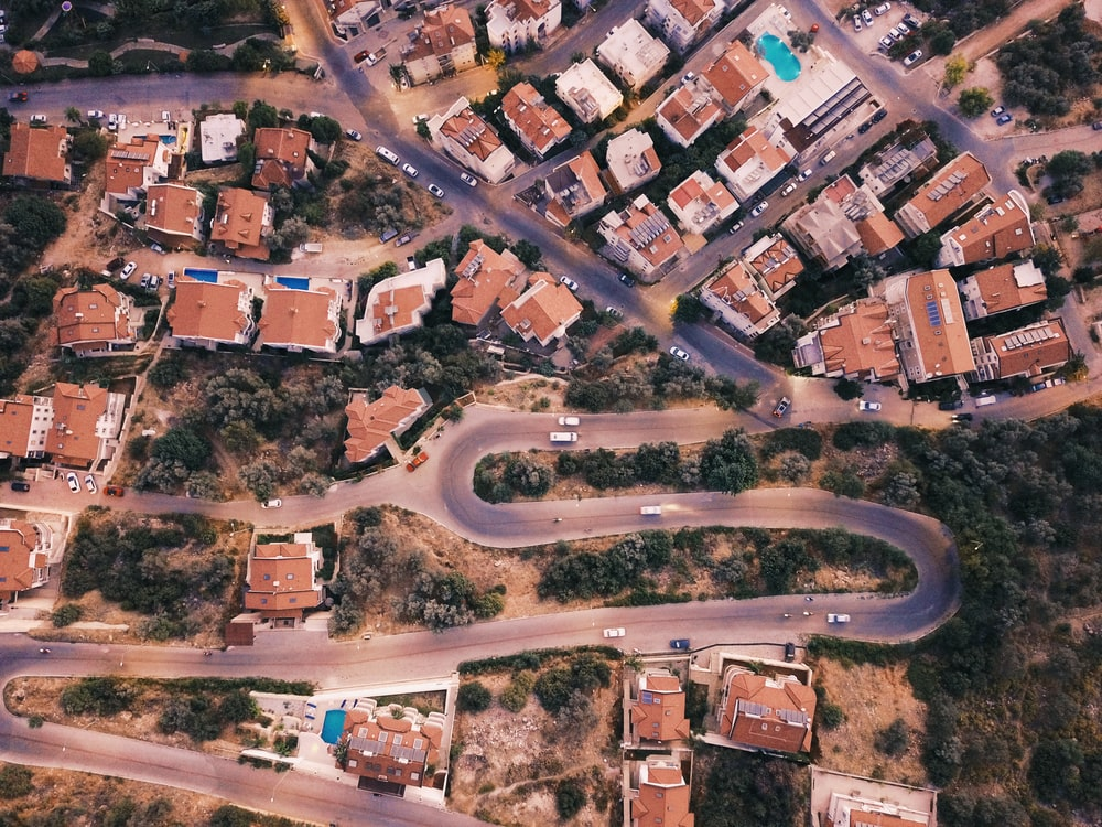 birds eye view photography of city
