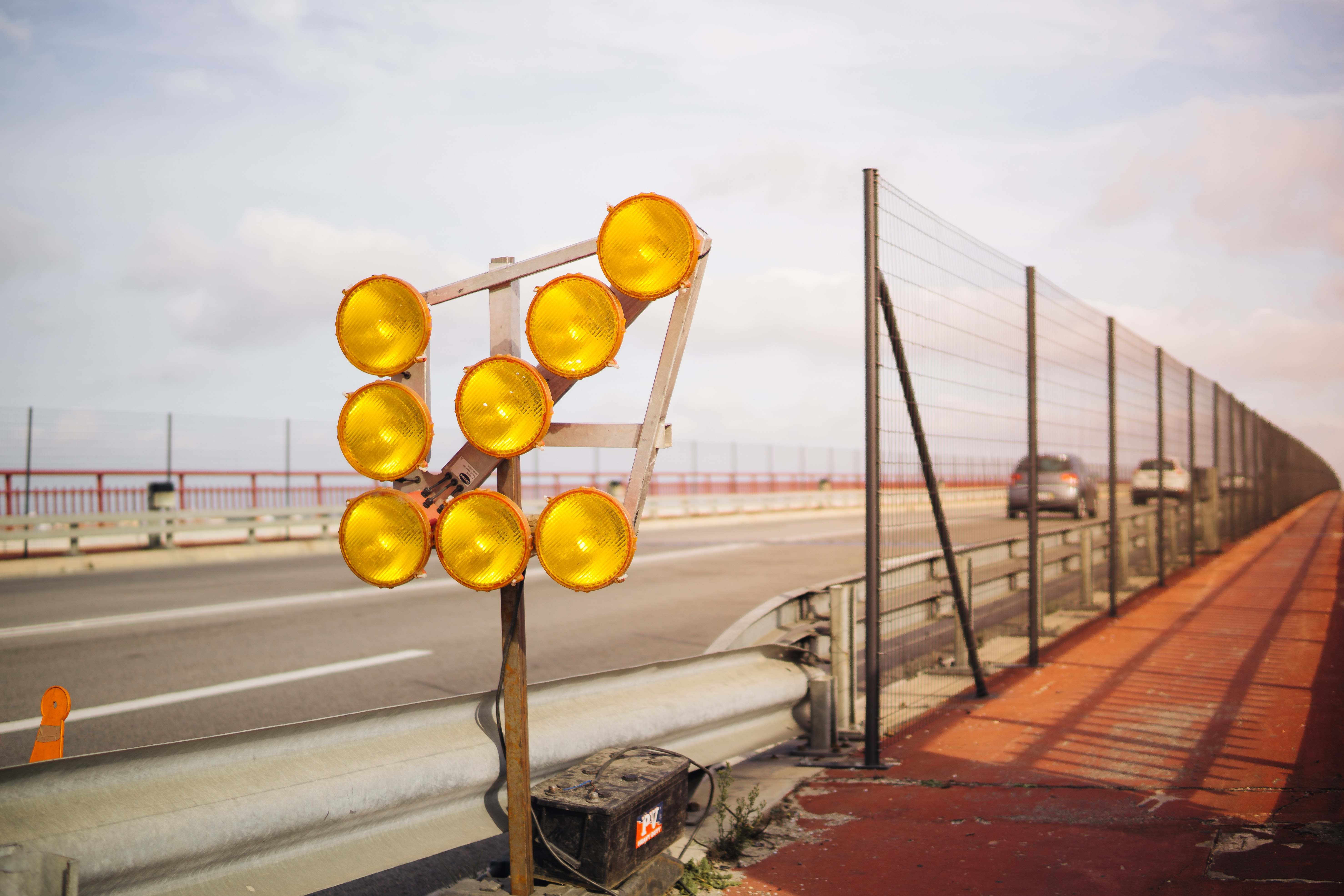 turned of yellow road lights