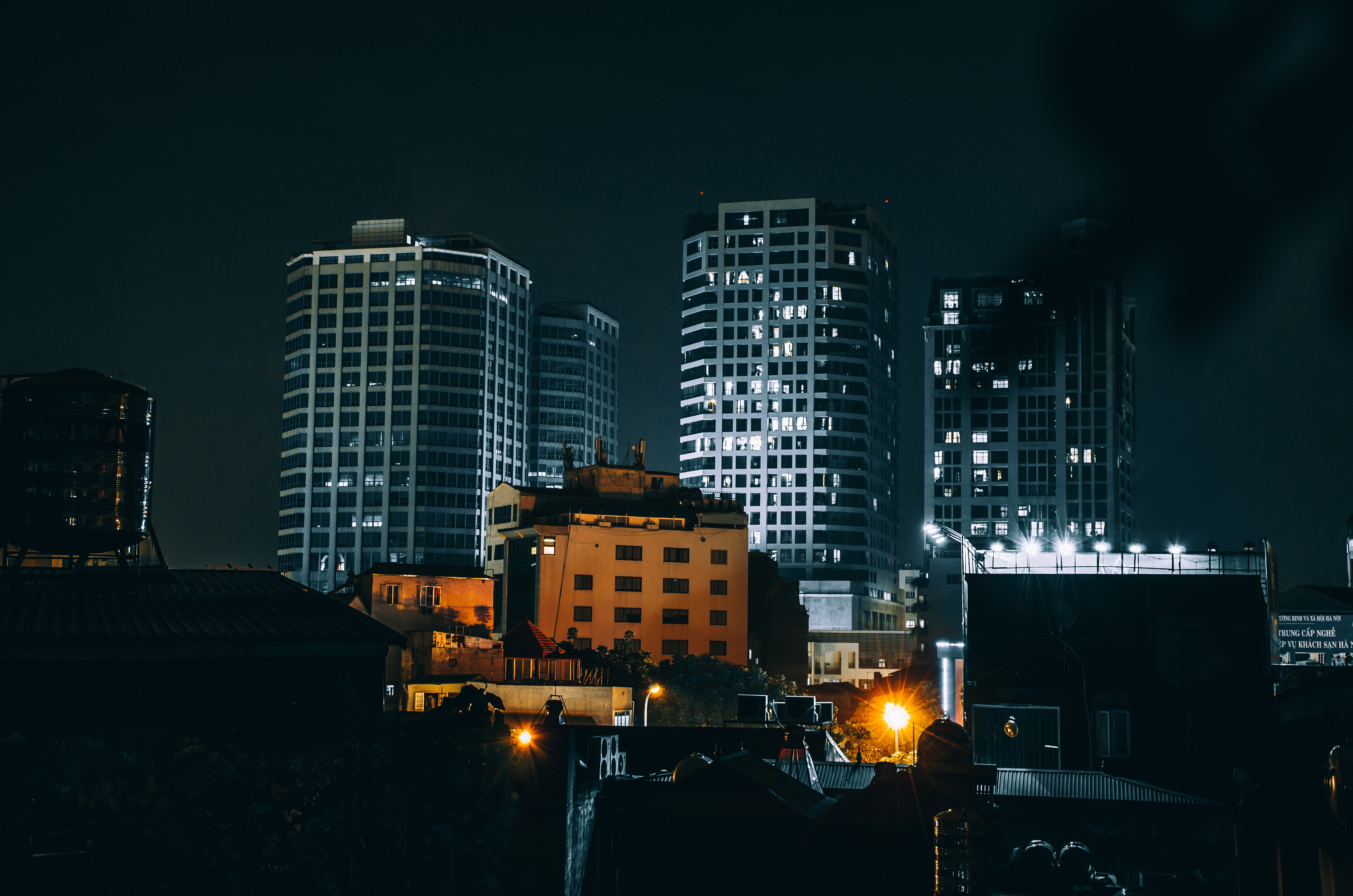 high-rise buildings during night time